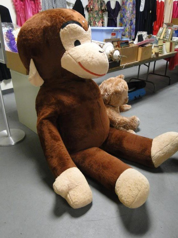 Large Curious George along with stuffed teddy bear - 3