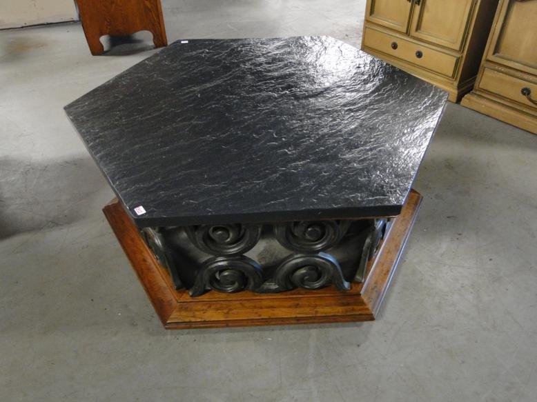 an octagon slate top 1960u0027s coffee table