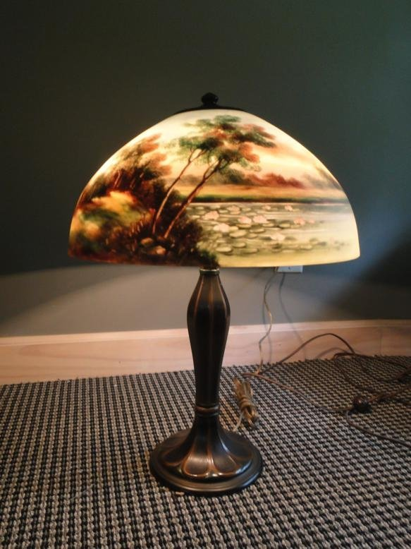 Reverse painted signed Jefferson table lamp. Signed on