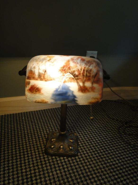 Piano lamp attributed to Pittsburgh with stunning art