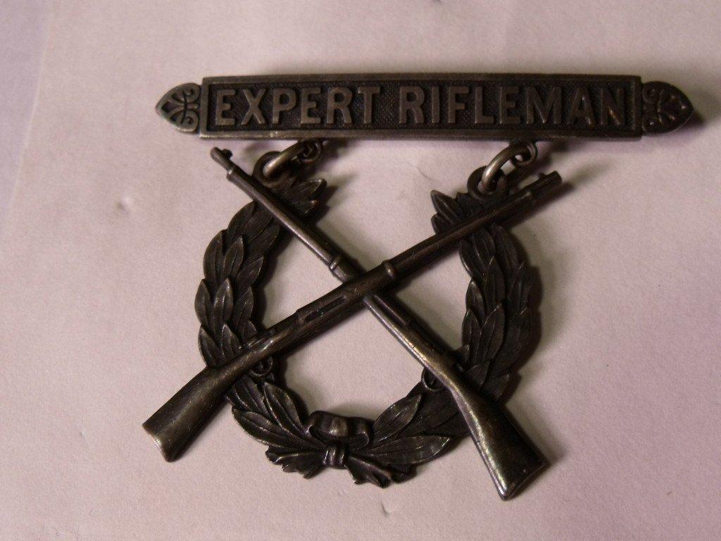 166: Sterling Expert Rifleman Badge - 2