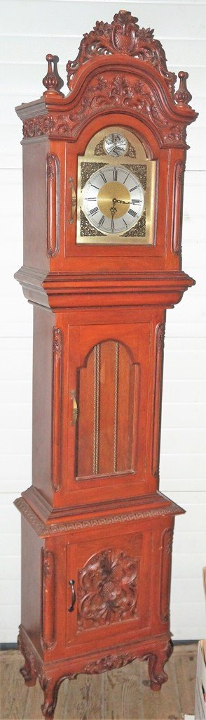 NARRA WOOD GRANDFATHER CLOCK W/INCREDIBLE CARVED CASE