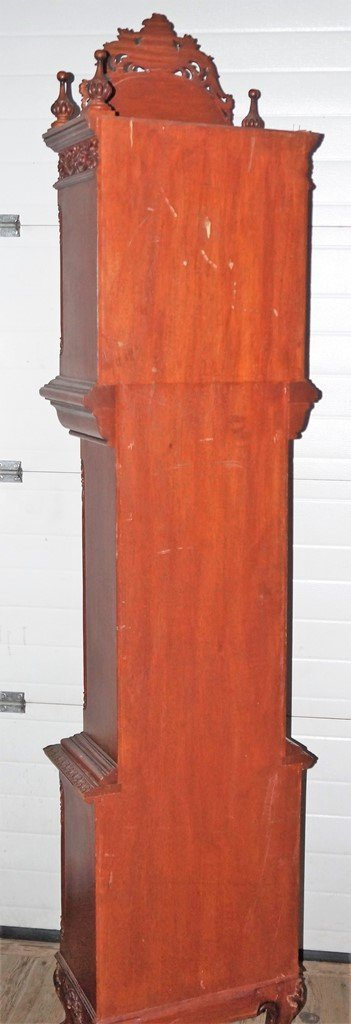 NARRA WOOD GRANDFATHER CLOCK W/INCREDIBLE CARVED CASE - 2