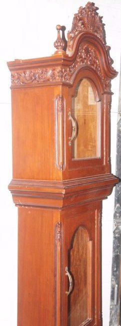 NARRA WOOD GRANDFATHER CLOCK W/INCREDIBLE CARVED CASE - 3