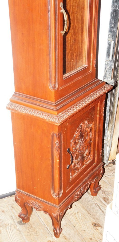 NARRA WOOD GRANDFATHER CLOCK W/INCREDIBLE CARVED CASE - 4