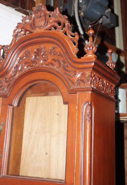 NARRA WOOD GRANDFATHER CLOCK W/INCREDIBLE CARVED CASE - 6