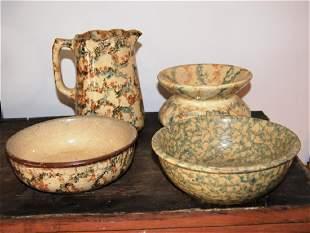 4 spongeware pcs incl pitcher 2 bowl and spittoon