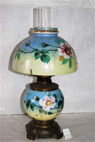 Eastlake Kerosene oil lamp with iron base with hand