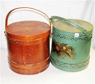 Lot of 2 Antique Firkins incl Green Painted Firkin with