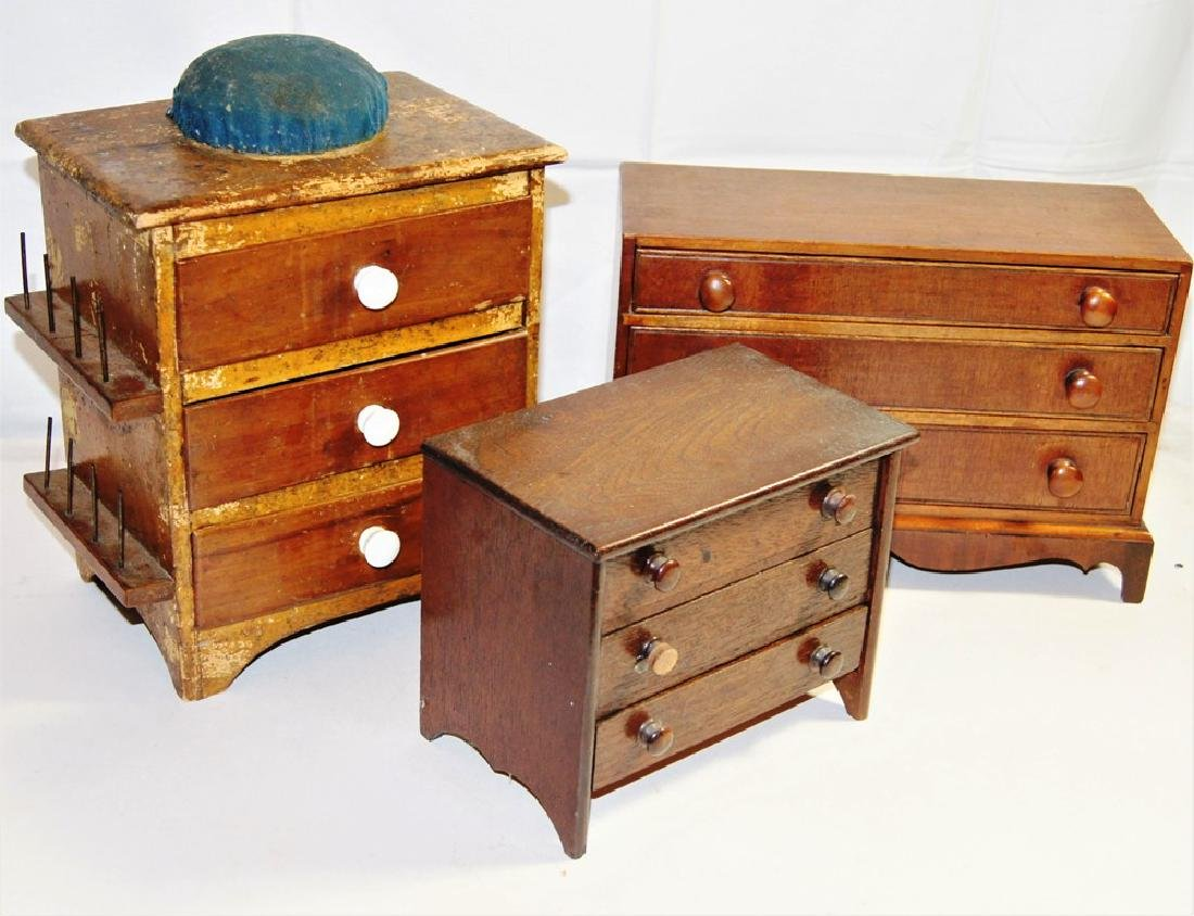Lot of 3 small 3 dr. chest incl miniature mahogany 3