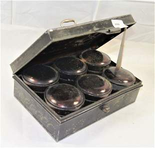 Black painted tin spice travel box with brass handle