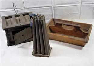 Lot of 3 primitives incl 12 stick candle mold pilgrim
