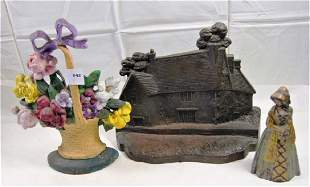 Lot of 3 cast iron doorstop incl RARE Ancestral Home of