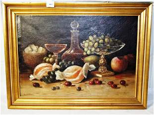 Painting Oilcanvas Still Life with Fruit sgd on