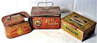 Lot of 3 tin litho tobacco tins incl a Bayuk Phillies