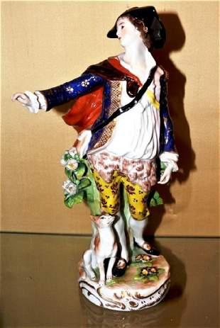German Quality Figurine Dresden Blue R mark ca 1850