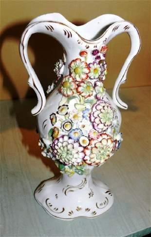 2 handled Paris Porcelain vase wappl Floral petals