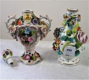 2 Dresden raised floral decorated pcs one a covered