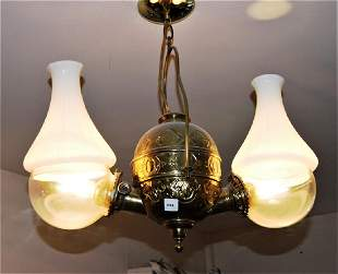 Victorian hanging double angle lamp solid brass
