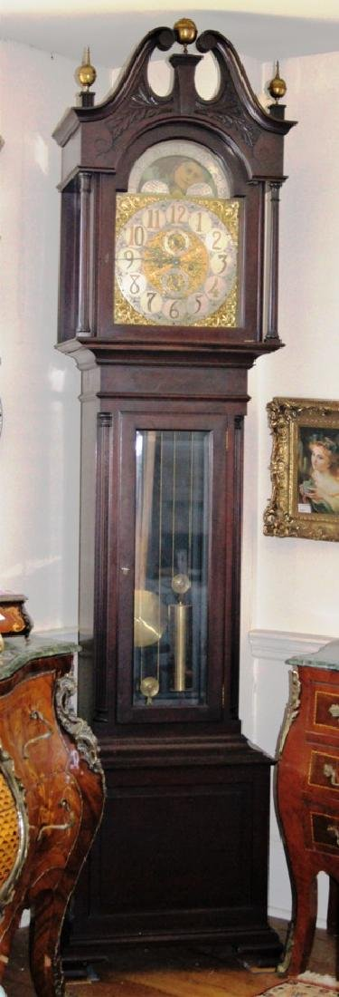Mahogany tall case hall clock, with brass 8 day time