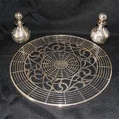 3 pcs of silver overlay incl Art Nouveau hot plate and