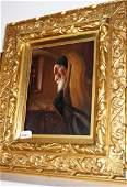 Framed porcelain plaque depicting Bearded Rabbi in a
