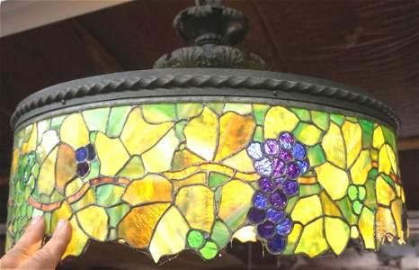 "Lg. bronze & stained glass ""Grape Vine"" lamp, 27"" dia"