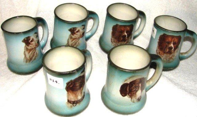 """14: 6 pc. semi-vitreous china dog mug set,  5"""" ht. mugs"""