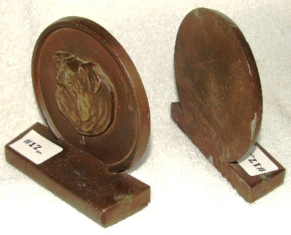 17: Pair of heavy cast bronze bookends, with bulldog he