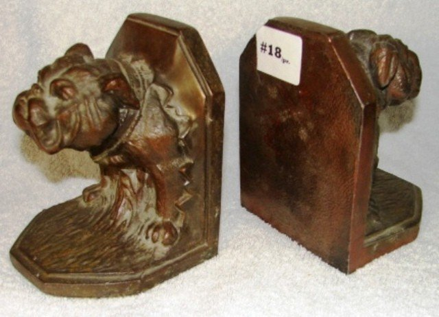 """18: Pair of spelter bookends, with bulldog """"breaking th"""