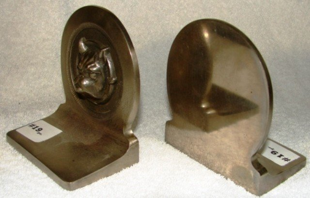 19: Pair of heavy French bulldog cast brass with nickel