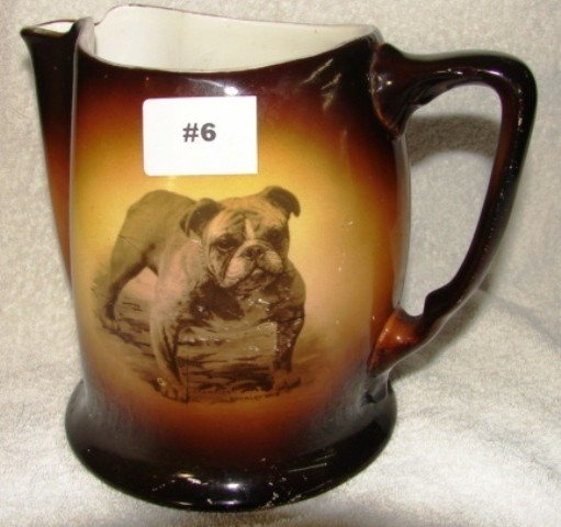 "6: Semi-vitreous china bulldog 7"" pitcher w/bulldog por"