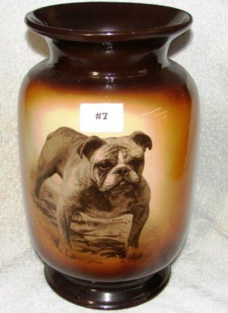 "7: Warwick semi-vitreous china bulldog 12"" vase w/Ch. B"
