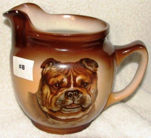 8: Semi-vitreous china pitcher w/bulldog head decoratio