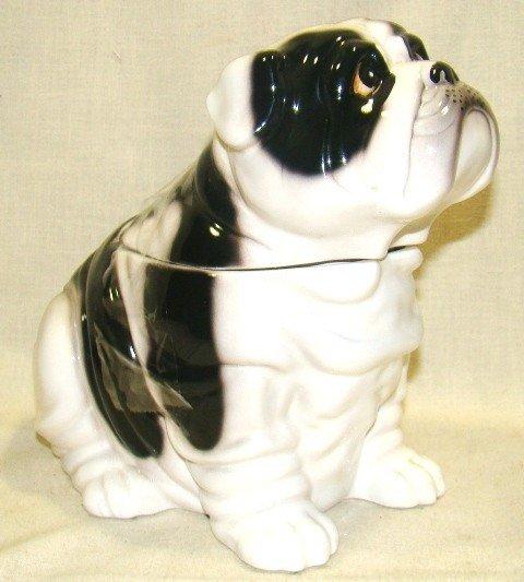 283: Ceramic Seated Bulldog Cookie Jar, White w/black e