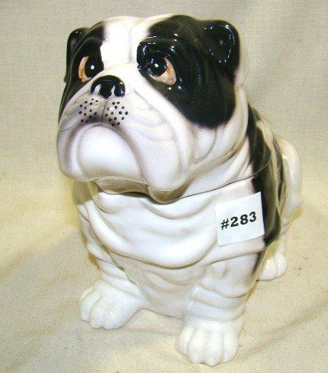 283: Ceramic Seated Bulldog Cookie Jar, White w/black e - 2