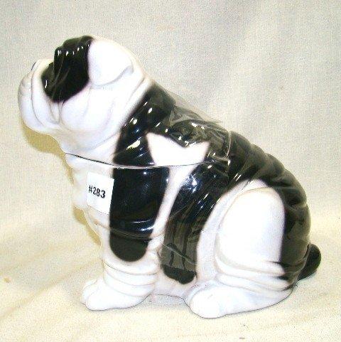 283: Ceramic Seated Bulldog Cookie Jar, White w/black e - 3