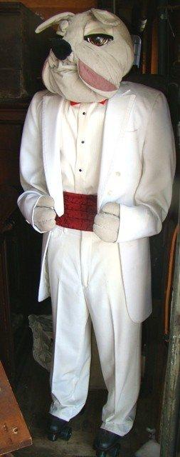 679: Human-size butler statue in tuxedo w/bulldog head