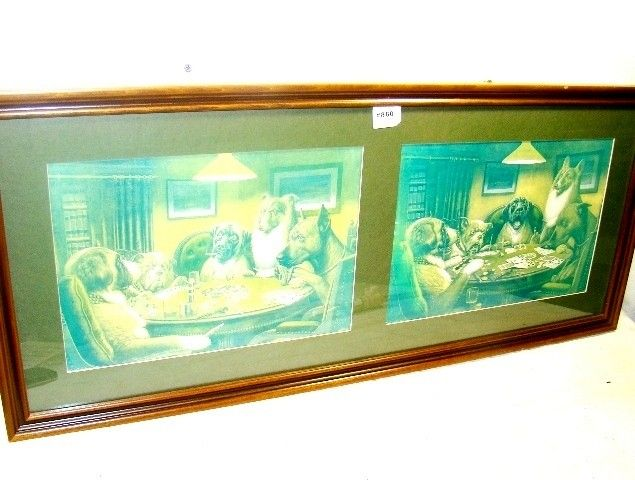"860: Double Framed C. M. Coolidge Prints, ""Dog Playing"