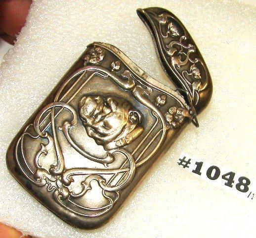 1048: Art Nouveau sterling match safe w/bas relief bull