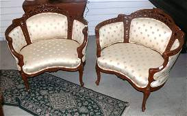 Pr Frenchstyle Louis XV Bergere boudoir armchairs