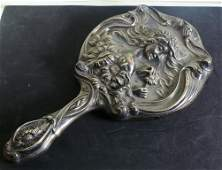 Unger Bros sterling silver hand mirror w/lady head &