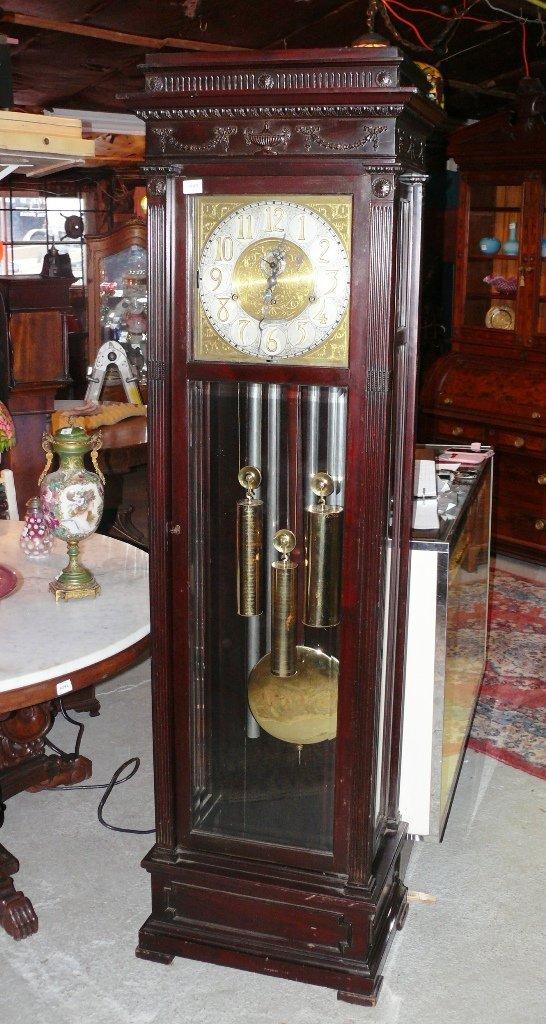 Tiffany & Co. Carved 6-tube mahogany hall clock, 6 1/2'
