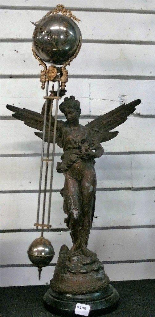 """Ansonia """"Gloria"""" swinger mystery clock, bronze finish"""