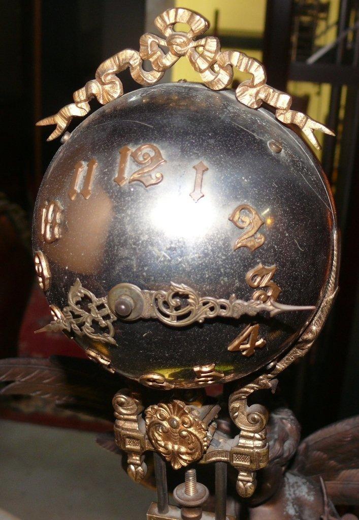 """Ansonia """"Gloria"""" swinger mystery clock, bronze finish - 7"""