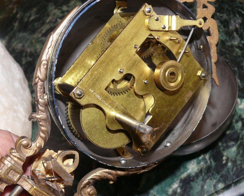 """Ansonia """"Gloria"""" swinger mystery clock, bronze finish - 8"""