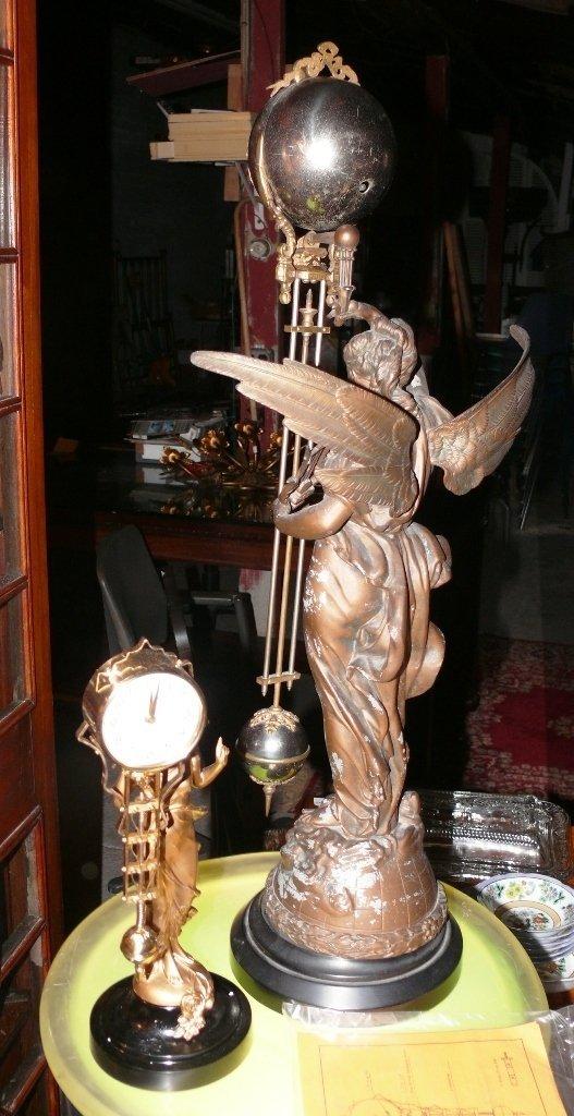"""Ansonia """"Gloria"""" swinger mystery clock, bronze finish - 9"""