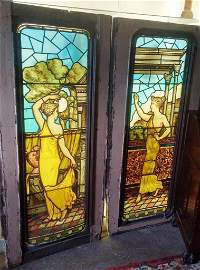 Pr of stained glass windows depicting Grecian maidens