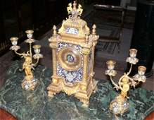 French Bronze 3 pc mantle clock set w/champleve, BEST!!