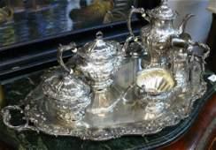 6 pc Gorham Sterling Silver Tea Set, ''Chantilly